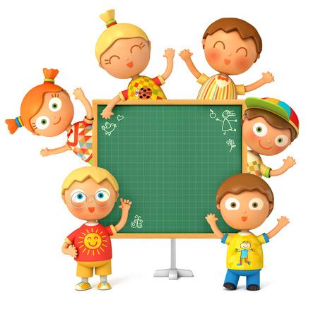 niño y niña: Grupo de los divertidos de la escuela se sitúa en el consejo escolar. Pizarra listo para su mensaje. De vuelta a la escuela. Aislado en el fondo blanco. 3d
