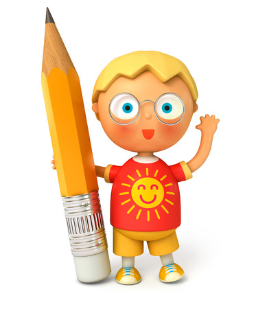 pupil: Little pupil holding a big pencil. Isolated on white background. 3d render