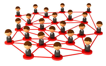 communications: Crowd of small symbolic 3d figures. Isolated on white background. 3d render