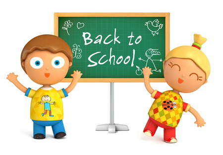 children education: Funny girl and boy standing at blackboard. Back to School. Isolated on white background. 3d render