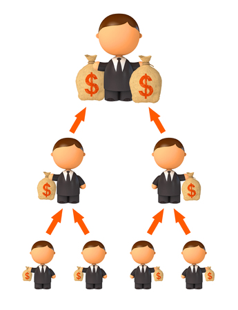 fraudulent: Financial pyramid. Schematic representation. Isolated on white background. 3d render