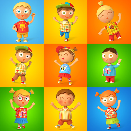 school icon: Group of children jumping. 3d render. Set Stock Photo