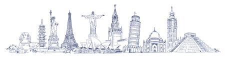 Big Ben, Coliseum, Cristo Redentor, Eiffel Tower, Great Wall, Leaning Tower of Pisa, Longhua Temple, Kremlin, Saint Basil's Cathedral, Sphinx, Statue of Liberty, Stonehenge, Taj Mahal, Triumphal arch Stockfoto