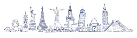 Big Ben, Coliseum, Cristo Redentor, Eiffel Tower, Great Wall, Leaning Tower of Pisa, Longhua Temple, Kremlin, Saint Basil's Cathedral, Sphinx, Statue of Liberty, Stonehenge, Taj Mahal, Triumphal arch Banque d'images