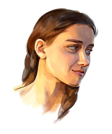 Portrait of a girl hand-written