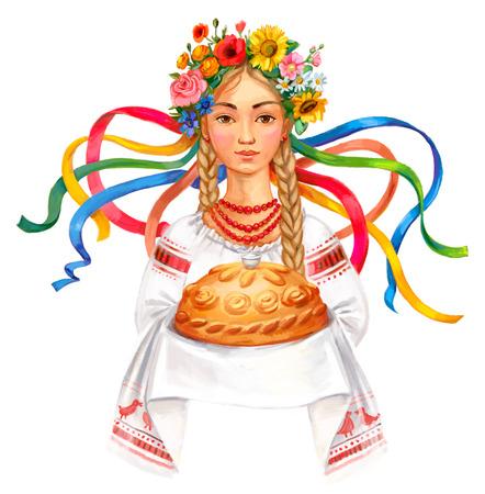 Bienvenido a Ucrania. Mujer ucraniana con pan y sal. corona de flores niña de Ucrania y ropa tradicional. Dibujo a mano