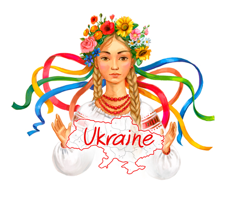 Welcome to Ukraine. Ukrainian girl wreath and traditional clothes. Hand-drawing illustration