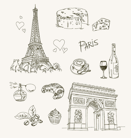 paris: Freehand drawing Paris items on a sheet of exercise book. Eiffel Tower. Arc de Triomphe. Vector illustration. Isolated on white background Illustration