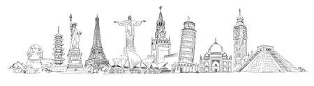 世界の観光名所です。フリーハンドでの描画。パノラマ。ベクトルの図。白い背景に分離  イラスト・ベクター素材