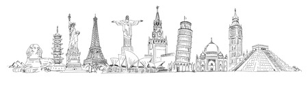 Attractions of the world. Freehand drawing. Panorama. Vector illustration. Isolated on white background Vettoriali