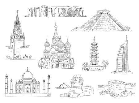 世界の観光名所です。フリーハンドでの描画。ベクトルの図。白い背景に分離  イラスト・ベクター素材