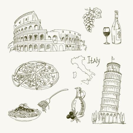 フリーハンド練習帳 1 枚にイタリアの項目を描画します。ピサの斜塔。コロシアム。ベクトルの図。白い背景に分離