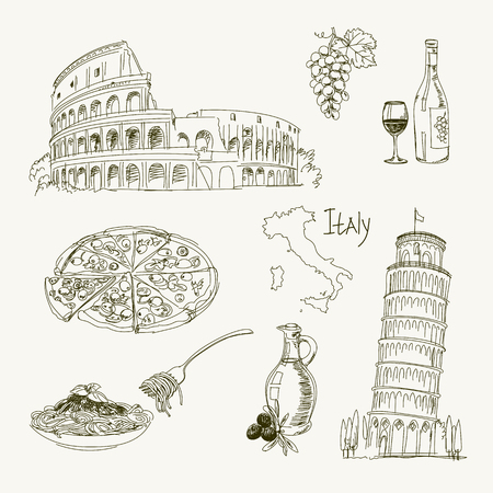 italy map: Freehand drawing Italy items on a sheet of exercise book. Leaning Tower of Pisa. Coliseum. Vector illustration. Isolated on white background Illustration