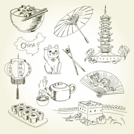 great: Freehand drawing China items on a sheet of exercise book. Longhua Temple - China Tours. Great Wall of China. Vector illustration. Isolated on white background