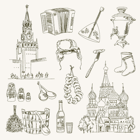 valenki: Freehand drawing Russia items on a sheet of exercise book. Moscow Kremlin. Saint Basils Cathedral. Vector illustration. Isolated on white background Illustration