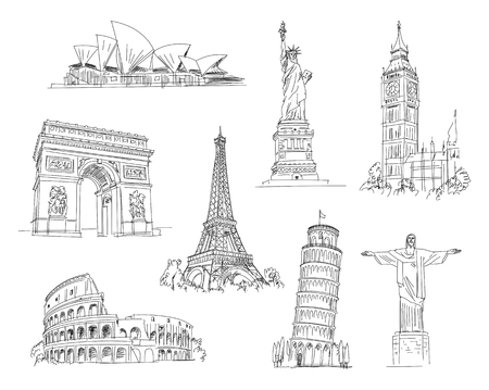 line design: Attractions of the world. Freehand drawing. Vector illustration. Isolated on white background Illustration