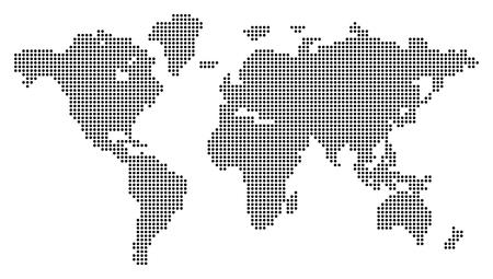 mapa mundi: Correspondencia de mundo punteada. Ilustración del vector. Ilustración conceptual. Aislado en el fondo blanco