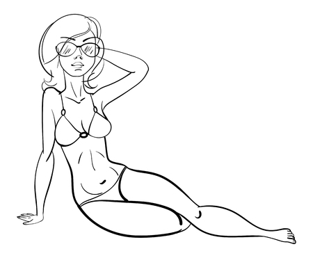 Beautiful girl sunbathing on the beach. Funny cartoon character. Vector illustration. Coloring book. Black and white