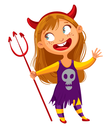Girl dressed up as a devil. Happy Halloween. Funny cartoon character. Vector illustration. Isolated on white background