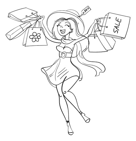 sales book: Happy girl with shopping bags in shop. Shopper. Sales. Funny cartoon character. Vector illustration. Coloring book. Black and white
