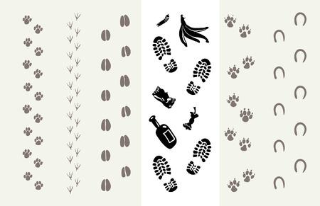 huellas de animales: Las huellas de animales y seres humanos. Cartel para la Protección del Medio Ambiente. ilustración vectorial Vectores