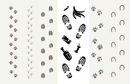 dog track: Traces of animals and humans. Poster for the Protection of the Environment. Vector illustration