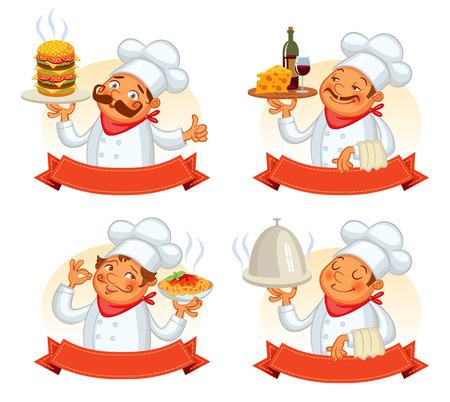 chef: Chef servir el plato. personaje de dibujos animados divertido. Ilustración del vector. Aislado en el fondo blanco. Conjunto Vectores