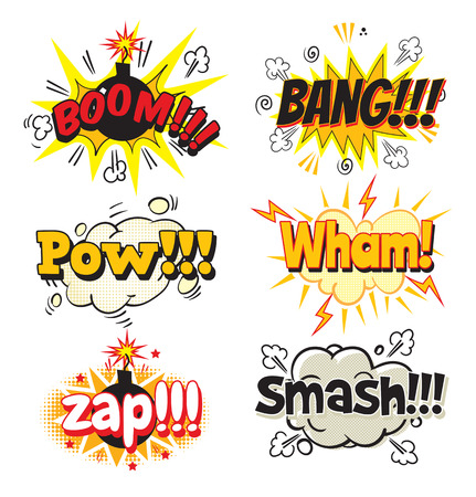 Boom, Bang, Pow, Wham, Zap, Smash! Bubble template for comics. Pop art comics style. Vector illustration. Isolated on white background