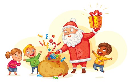 weihnachtsmann lustig: Weihnachtsmann bringt Geschenke an die Kinder. Frohe Weihnachten und ein glückliches neues Jahr. Lustige Zeichentrickfigur. Vektor-Illustration. Isoliert auf weißen Hintergrund
