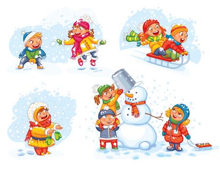 palle di neve: Giocare all'aperto. Bambini slittino. Ragazzo e ragazza che giocano a palle di neve. Scolari rendendo il pupazzo di neve. Ragazza cercando di catturare i fiocchi di neve con la lingua. personaggio dei cartoni animati divertente. Illustrazione vettoriale.
