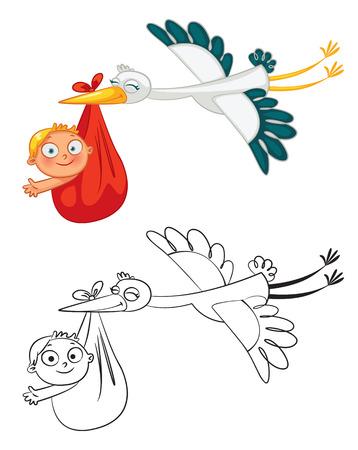Cigogne portant un bébé mignon. personnage de dessin animé drôle. Livre de coloriage. Vector illustration. Isolé sur fond blanc. Ensemble Vecteurs