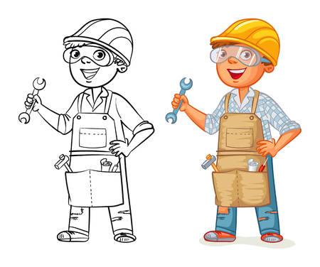 profesiones: trabajador de la construcción en uniforme de pie con una llave en sus manos. personaje de dibujos animados divertido. Ilustración del vector. Aislado en el fondo blanco. Libro de colorear. El color y la imagen en blanco y negro