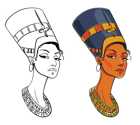 black woman face: Nefertiti. Vector illustration. Isolated on white background. Color and black and white image Illustration