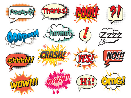 stile: Fresco, schiaffo, oops, wow, grazie, s�, no, ciao, crash, omg, hmm, Psst, shh! Modello Bubble per i fumetti. Pop art in stile fumetto. Illustrazione vettoriale. Isolato su sfondo bianco