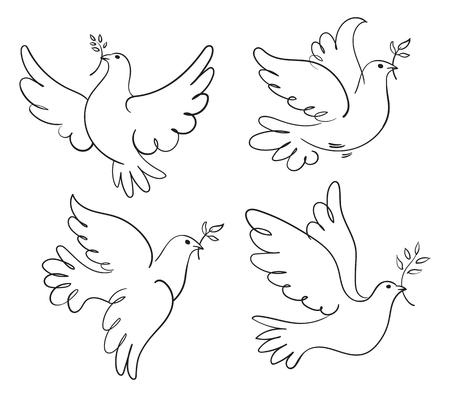 Jeu de symboles vecteur colombe de la paix. Noir et blanc illustration Banque d'images - 50123423