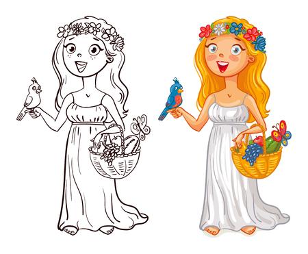 frutas divertidas: Flora (deidad). niña en una corona de flores con el pájaro y cesta de frutas. personaje de dibujos animados divertido. Ilustración del vector. Aislado en el fondo blanco. Libro de colorear. El color y la imagen en blanco y negro