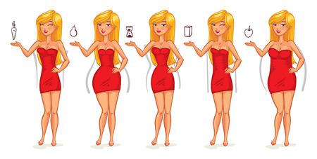 Cinque tipi di figure femminili. le forme del corpo. personaggio dei cartoni animati divertente. Illustrazione vettoriale. Isolato su sfondo bianco Vettoriali