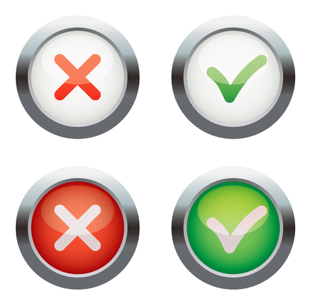 proceed: Yes or No. Vector icons. Isolated on white background. Set