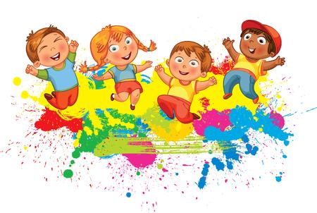 Los niños que saltan en el chapoteo del color de fondo. Bandera. personaje de dibujos animados divertido. Ilustración del vector. Aislado en el fondo blanco