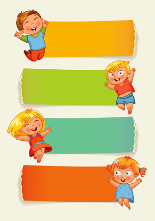 children in class: Back to school. Collection of infographics elements in the form of paper tape for various purposes. Funny cartoon character. Vector illustration. Set Illustration