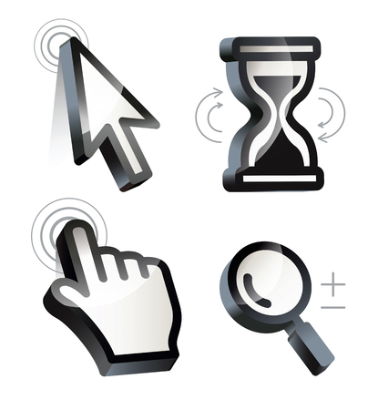 mouse cursor: Cursor. Hand, arrow, hourglass, magnifying. Black and white vector illustration. Conceptual illustration. Isolated on white background Illustration