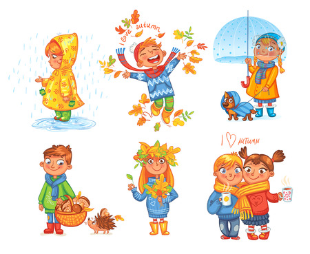 I love autumn. Boy throws up autumn leaves. Girl under umbrella. Boy gathers mushrooms in the forest. Girl collects leaves. Funny cartoon character. Vector illustration. Isolated on white background