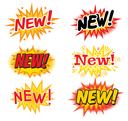 art product: NEW ! Comics Speech Bubbles. Pop art comics style. Vector illustration. Isolated on white background
