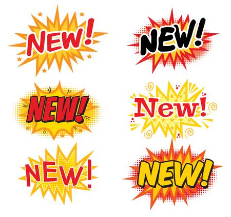 NIEUWE ! Comics tekstballonnen. Pop art comics-stijl. Vector illustratie. Geïsoleerd op witte achtergrond