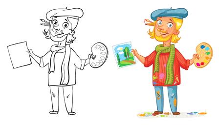 Artista con una tavolozza e dipingere un quadro. personaggio dei cartoni animati divertente. Illustrazione vettoriale. Isolato su sfondo bianco. Libro da colorare. Colore e bianco e nero