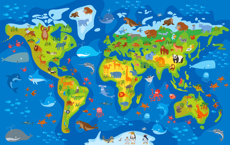 planet earth: Animal world. Funny cartoon character. Vector illustration