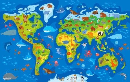 ni�os dibujando: Mundo animal. Personaje de dibujos animados divertido. Ilustraci�n vectorial