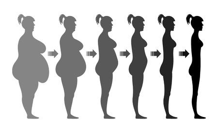 obeso: Etapas figura femenina pérdida de peso. transición gradual de una gruesa a una delgada. Silueta. Ilustración del vector. Aislado en el fondo blanco