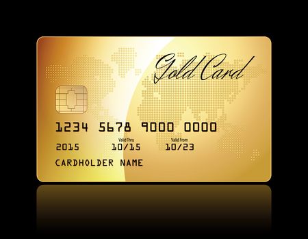 bankcard: Gold card. Conceptual illustration. Vector illustration
