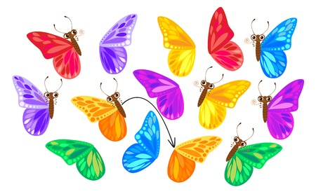 Trova una seconda ala per una farfalla. Bambini Puzzle Game. personaggio dei cartoni animati divertente. Illustrazione vettoriale. Isolato su sfondo bianco Vettoriali